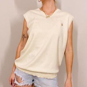 Polo Ralph Lauren Cream Minimalist Sweater Vest